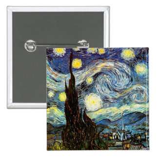 Belas artes do vintage da noite estrelado de Van Bóton Quadrado 5.08cm