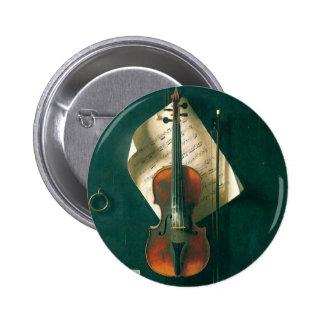 Belas artes do vintage, do violino vida velha bóton redondo 5.08cm