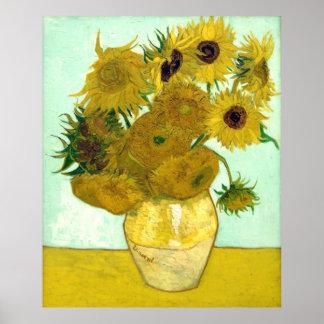 Belas artes do vintage dos girassóis de Van Gogh Poster
