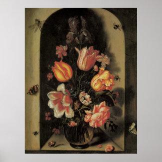 Belas artes florais com poster das tulipas