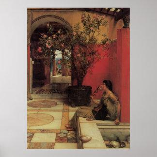 Belas artes florais com poster do Oleander