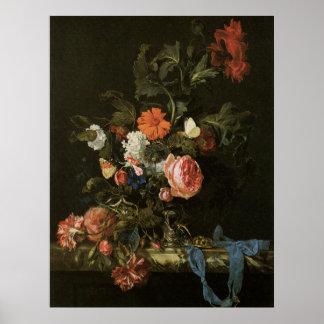 Belas artes florais com poster dos rosas