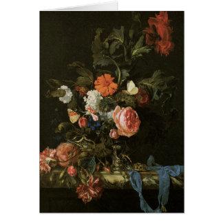 Belas artes florais com rosas cartão comemorativo