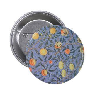 Belas artes florais do vintage da romã de William Bóton Redondo 5.08cm