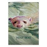 Belas artes gigantes da lontra de rio cartão comemorativo