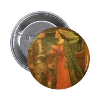 Belas artes, Tristan e Isolde do vintage pelo Bóton Redondo 5.08cm