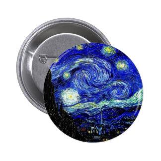 belas artes vVan da noite estrelado de Gogh Bóton Redondo 5.08cm