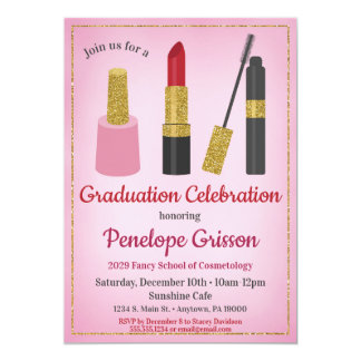 Beleza do convite da graduação dos cosméticos da