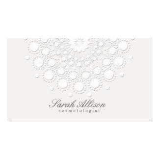 Beleza elegante e simples do branco do Cosmetologi Cartões De Visitas