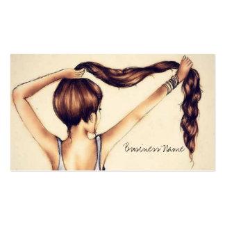 Beleza longa do cabelo cartões de visita