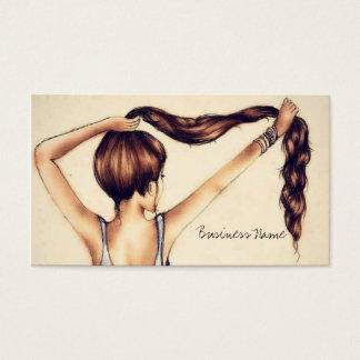 Beleza longa do cabelo cartão de visitas