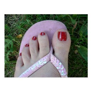 Beleza lustrada dos dedos do pé ou cartão do salão cartão postal