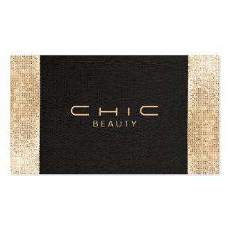 Beleza preta chique elegante do Sequin do ouro do Modelo Cartão De Visita