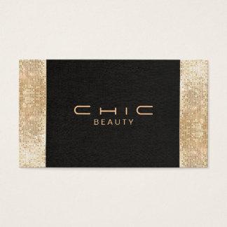 Beleza preta chique elegante do Sequin do ouro do Cartão De Visitas