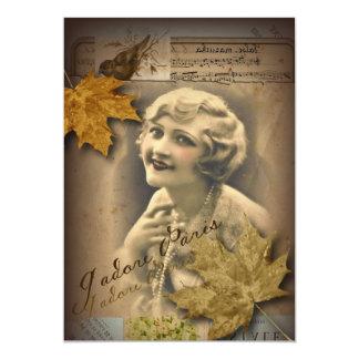 beleza retro do flapper do vintage de Paris das Convite 12.7 X 17.78cm