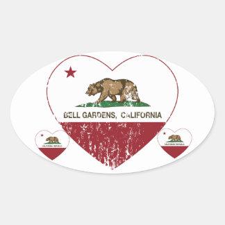 Bell jardina coração de Califórnia afligido Adesivo Oval