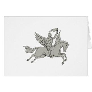 Bellerophon que monta Pegasus que guardara o Cartão