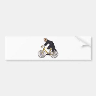 Ben Franklin em uma bicicleta com as rodas do meio Adesivo Para Carro