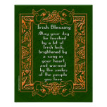 Bênção irlandesa com pia batismal e fundo celtas poster