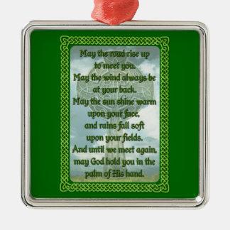 Bênção irlandesa verde ornamento quadrado cor prata