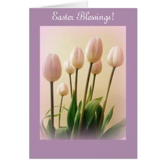 Bênçãos da páscoa com tulipas do primavera cartão comemorativo