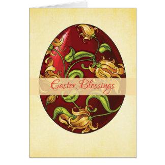 Bênçãos da páscoa, ovo com lírios cartão comemorativo