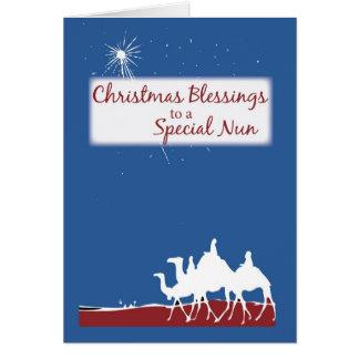 Bênçãos freira católica do Natal, natividade Cartão Comemorativo