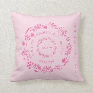 Berçário do rosa do bebé do Stats   do nascimento Almofada