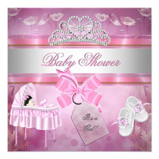 Berço branco da princesa do rosa da menina do chá  convites