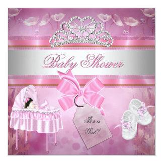 Berço branco da princesa do rosa da menina do chá convite quadrado 13.35 x 13.35cm