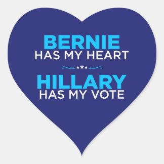 Adesivo Coração Bernie tem meu coração, Hillary tem minha etiqueta