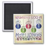 Bettors do Natal do Mah Jongg Imã De Refrigerador