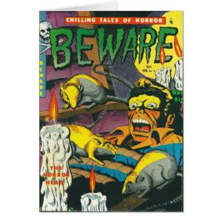 Beware a banda desenhada cartão comemorativo