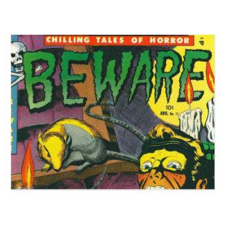 Beware a banda desenhada cartão postal