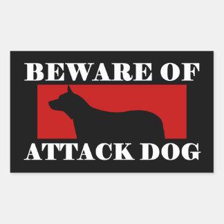 Beware do cão de ataque - cão australiano do gado adesivo retangular