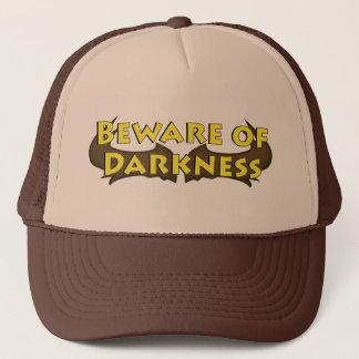 Beware do chapéu do camionista do logotipo do boné