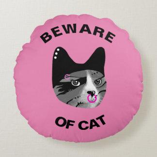 Beware do gato almofada redonda
