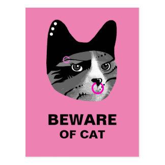 Beware do gato cartão postal
