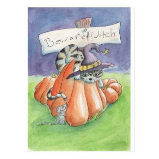 Beware do gato da bruxa cartão postal