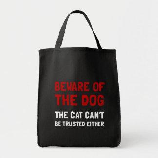 Beware o gato do cão sacola tote de mercado