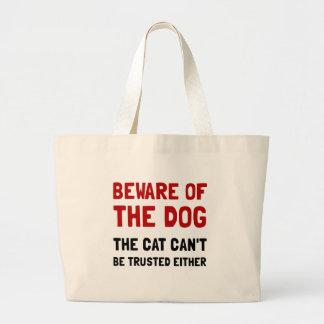 Beware o gato do cão sacola tote jumbo