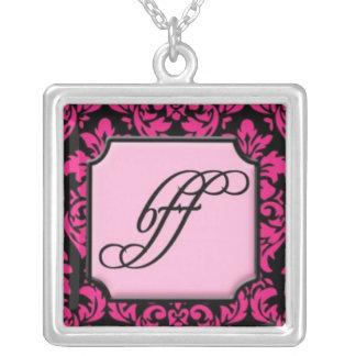 BFF na cor damasco cor-de-rosa e preta elegante Colar Com Pendente Quadrado