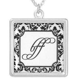 BFF na cor damasco preto e branco elegante Colar Com Pendente Quadrado