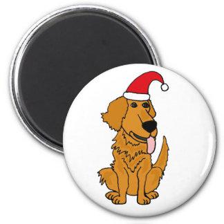 BH golden retriever no botão do Natal do chapéu do Imãs