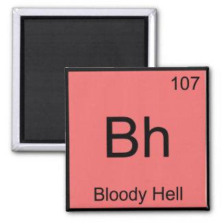 BH - Símbolo sangrento T engraçado do elemento da  Ímã Quadrado