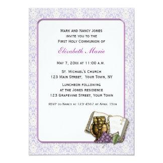 Bíblia, cálice, uvas, comunhão roxo do damasco convites personalizado