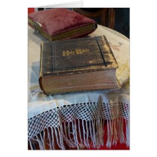 Bíblia de família antiga, cartão vazio