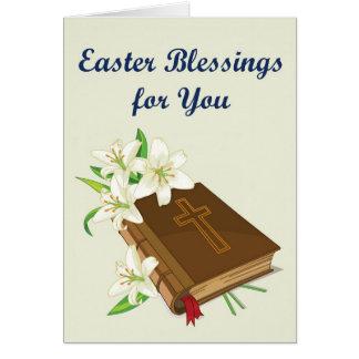 Bíblia do cartão das bênçãos da páscoa com Lírio-R