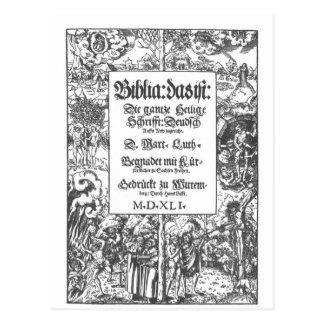 Bíblia velha de Luther da primeira página Cartão Postal