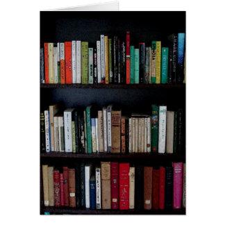 Biblioteca e livros cartão comemorativo